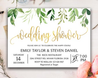 Greenery Wedding Shower Invitation, Bridal Shower Invite, Floral Bridal Shower Card MSK_004_GOLD | Instant Download DIY Printable Editable
