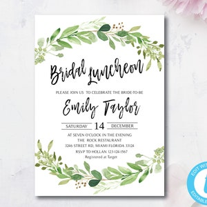 Succulents Brunch Greenery Succulent Bridal Luncheon Invitation Bridesmaid Luncheon Instant Download DIY Printable Editable F727
