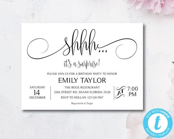 Templett Elegant Let/'s Celebrate Invitation Generic Party Invitation Instant Download DIY Printable Editable Birthday Invitations