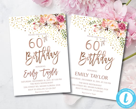 60th Birthday Boho Floral Birthday Party Invitation Flowers Invitations Instant Download Diy Printable Editable Templett Blush Gold