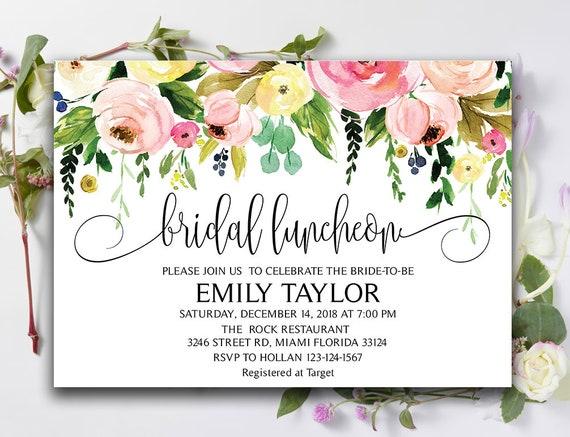 Floral Bridal Luncheon Invitation Bridal Brunch Invitation Etsy