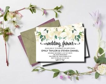 Floral Wedding Shower Invitation, Bridal Shower Card, Couples Shower Invite, White Flowers 03 | Instant Download DIY Printable Editable