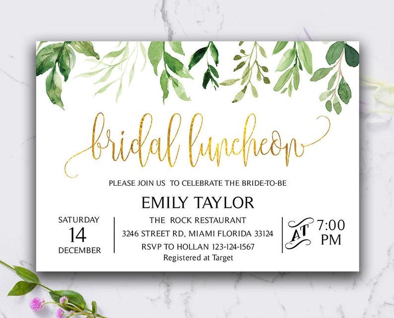 Gold and Green Leaf Bridal Luncheon Invitation Bridal Brunch Invitation Instant Download DIY Printable Editable Bridesmaid Luncheon