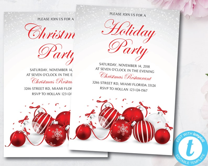 Instant Download DIY Printable Editable Christmas Party Invitation Holiday Party Invitations Templett
