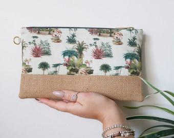Palm leaf purses Iphone purses Cafe purses Tommy Bahama purse Zip fabric purse Gift for woman Bridesmaid gift Clutch zipper purse