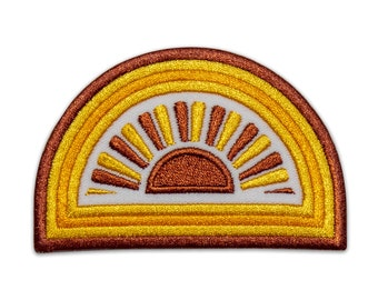 Sunshine Embroidered Patch - Retro Patch Patches for Jacket Hippie Backpack Vintage Peace Love Nature Colorful Vibrant Happy Adventure Earth