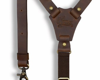 Wiseguy Army Green Elastic Handmade Suspenders 1.3 wide for Men with Premium Quality Brown Leather Parts