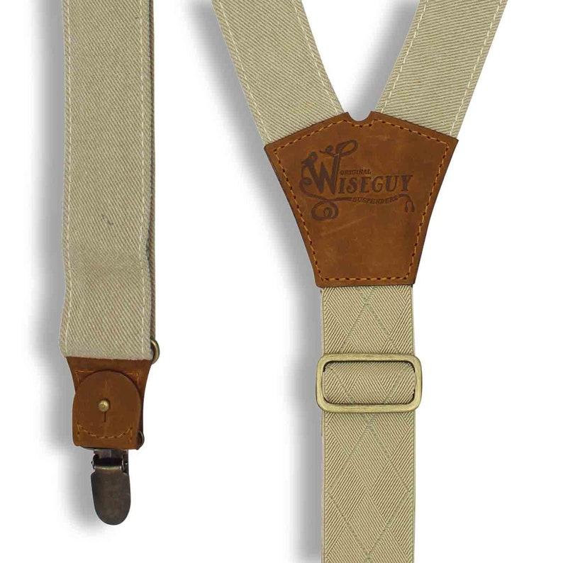 Suspenders for Men Men Suspenders The Duck FLEX canvas beige 1.3 inch wide suspenders with camel brown leather hand sewn suspenders