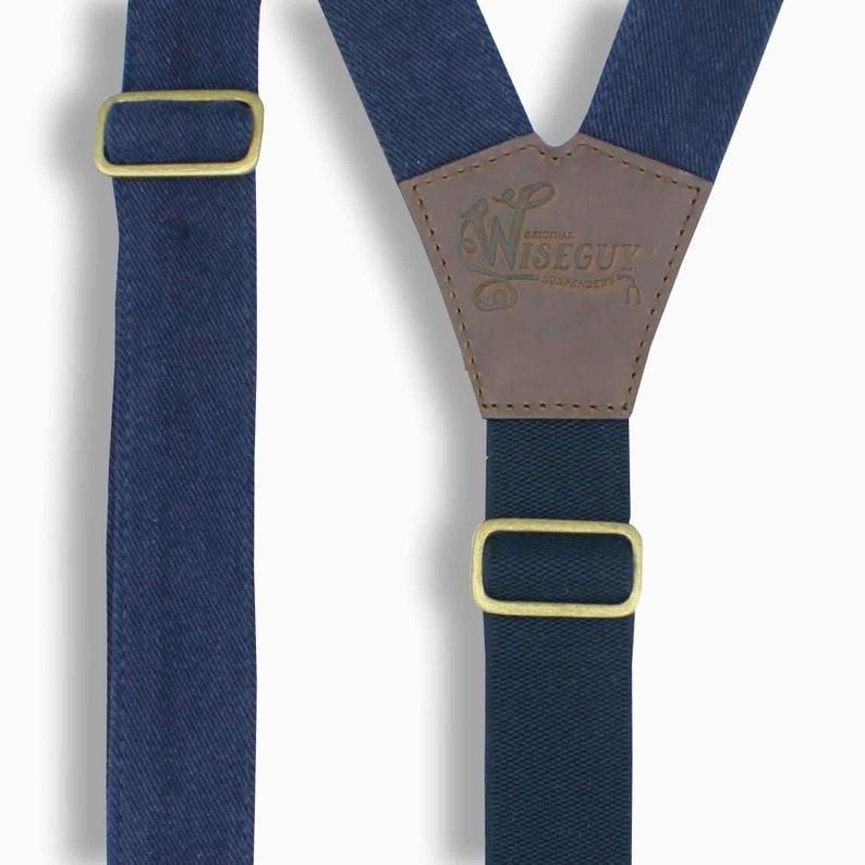 Men Suspenders Suspenders for Men The Duck FLEX Denim Blue 1.3 inch wide suspenders with dark brown leather hand sewn suspenders