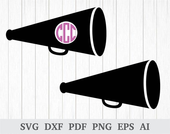 Megaphone Monogram Svg Cheerleader Svg Megaphone Clipart Etsy
