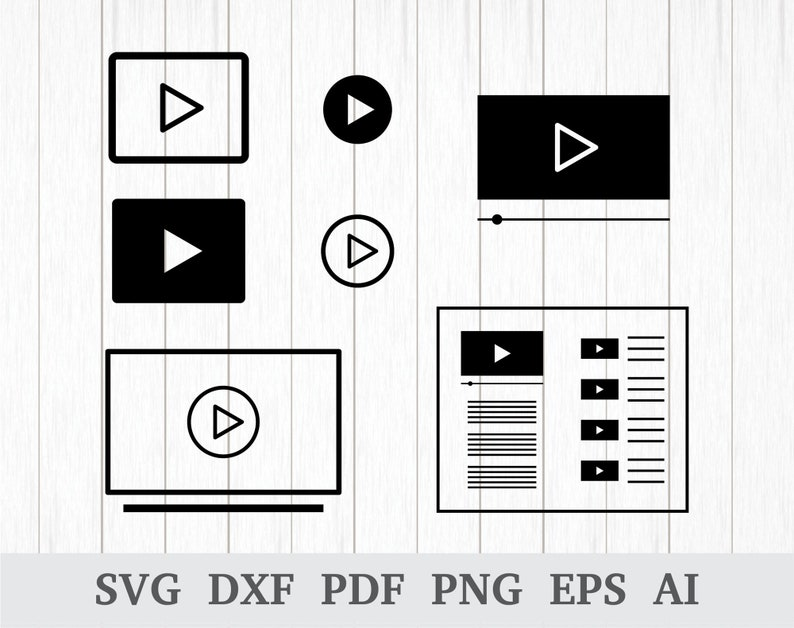 Play Button SVG, Play SVG, Video SVG, Video Player svg, Tv svg, playback  svg, Play icon, cricut & silhouette, vinyl, dxf, ai, pdf, png, eps
