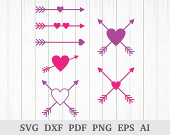 Heart Arrow SVG, Heart Arrow DXF, Arrow Heart svg, Arrow Heart Clipart, Arrow SVG File, cricut & silhouette, dxf, ai, pdf, png, eps
