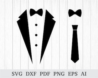 Tuxedo SVG, Tux SVG , Tuxedo Shirt Svg, Bow Tie SVG, Tuxedo Vector, Tuxedo Clipart, Tie svg, Gentlemen svg vinyl, dxf, ai, pdf, png, eps