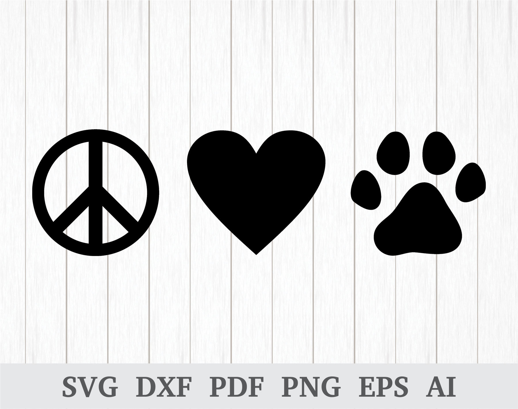Peace Love Paw Svg Peace Love Dogs Svg Animal Lover Svg Paw Etsy