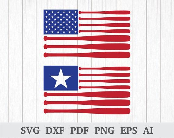 Baseball Flag Svg Usa Flag Svg 4th Of July Svg American Etsy