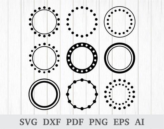 Circle Monogram Frame Svg Polka Dot Monogram Frame Svg Svg Etsy