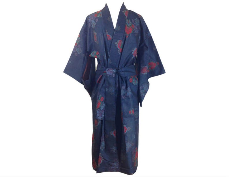 c99711ab75f5 TMD Reworked Remake Vintage Antique Japanese 60's Casual Wool Silk Yarn  Dyed Hitoe Hand Sewn Kimono Gown Robe (TDM-R-2)