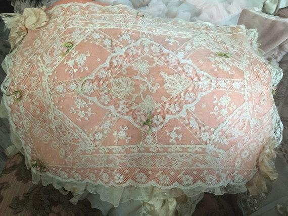 Antique French silk bag lingerie bag