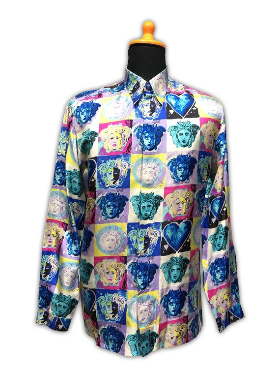 Gianni Versace Silk Shirt Medusa Head 1990s