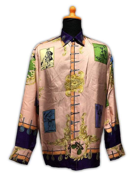 Gianni Versace Sport Silk Shirt Tennis 1990s