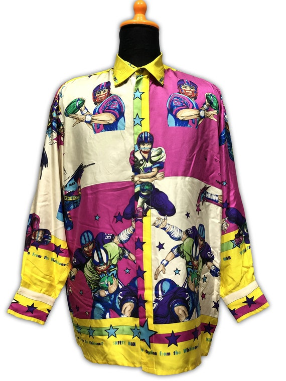 Gianni Versace Sport Silk Shirt Football 1990s