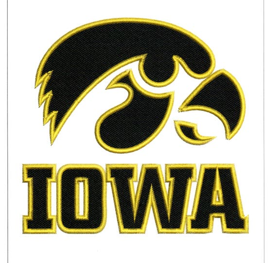 Embroidery Designs University Of Iowa Logo In Black And