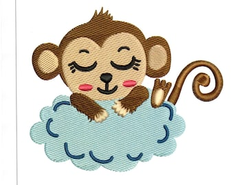 Embroidery Designs Cute Monkey Sleeping Monkey on Cloud