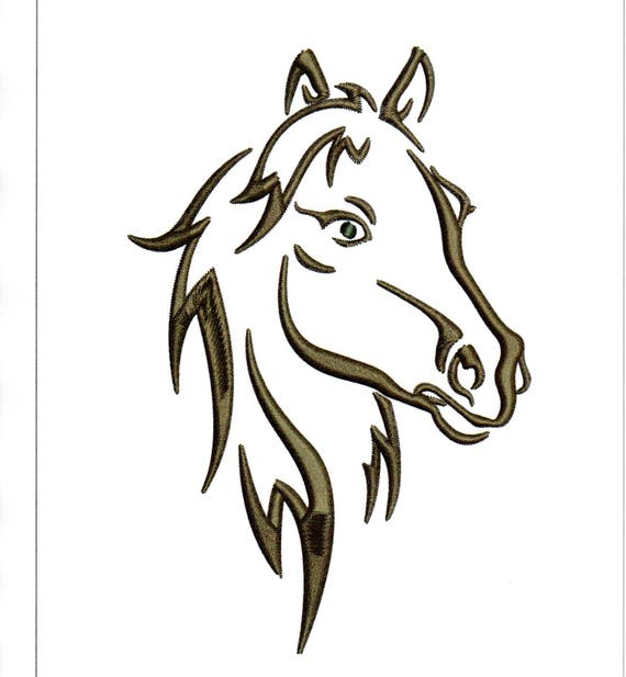 Broderie t te de cheval dessins contour silhouette de cheval etsy - Dessin chevaux noir et blanc ...