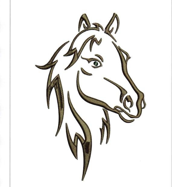 Broderie t te de cheval dessins contour silhouette de - Dessin facile de cheval ...