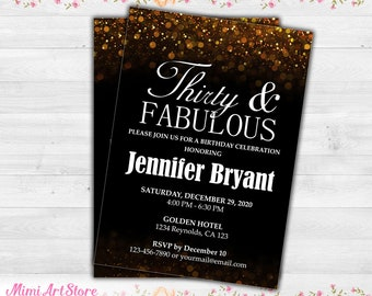 35th Birthday Invitation For Women Printable Thirty Five Invite Gold Glitter And Fabulous