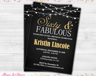 65th Birthday Invitation For Women Printable Sixty Five Invite Gold Glitter And Fabulous Men