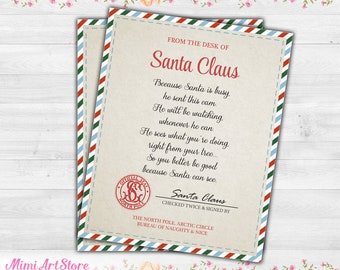 santa letter for santa cam santa claus spy cam letter santa cam note printable letter from santa spy camera ornament instant download