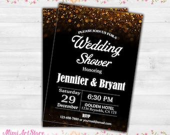 couples wedding shower invitation printable wedding shower invitation halkboard wedding shower invitation black gold wedding shower invite