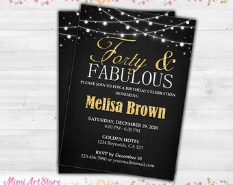 45th Birthday Invitation For Women Printable Forty Five Party Invite Gold Glitter Her And Fabulous