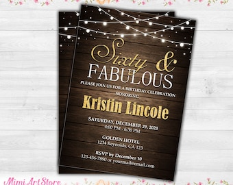 65th Birthday Invitation For Women Printable Sixty Five Invite Wood Gold Glitter Her And Fabulous