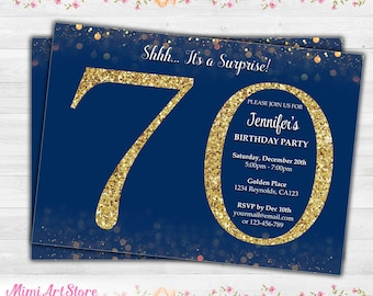 Surprise 70th Birthday Invitation Navy Gold Printable Blue And Glitter Party Invite Confetti
