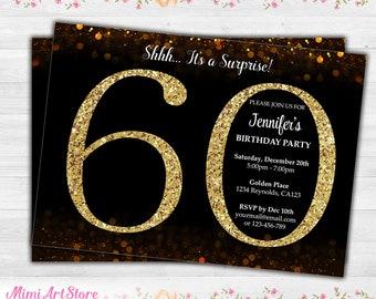 Surprise 60th Birthday Invitation For Women Gold Glitter Printable Party Invite Black Confetti