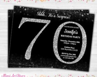 Surprise 70th Birthday Invitation Silver Glitter Printable Invite For Women Black Confetti