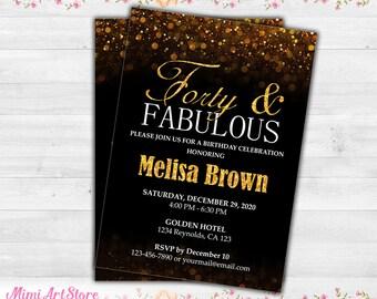 40th Birthday Invitation For Women Black Gold Glitter Invite Surprise Her Printable Sparkle