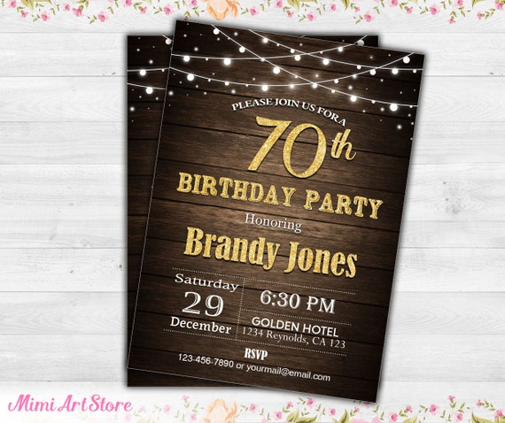 70th Birthday Invitation For Him Rustic Invite