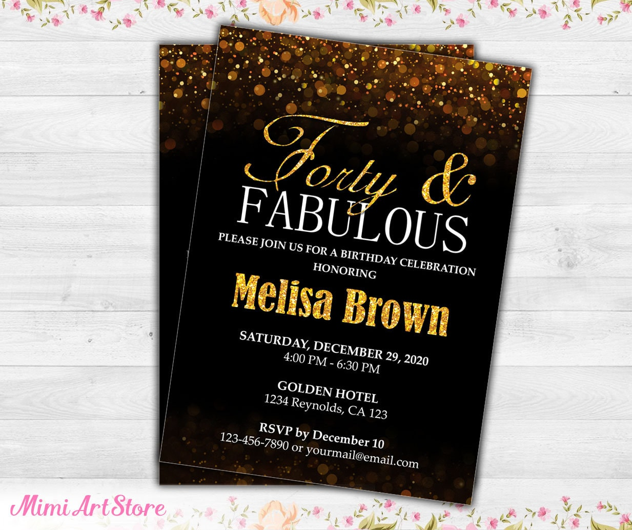 Surprise 40th Birthday Invite For Women Black Gold Glitter