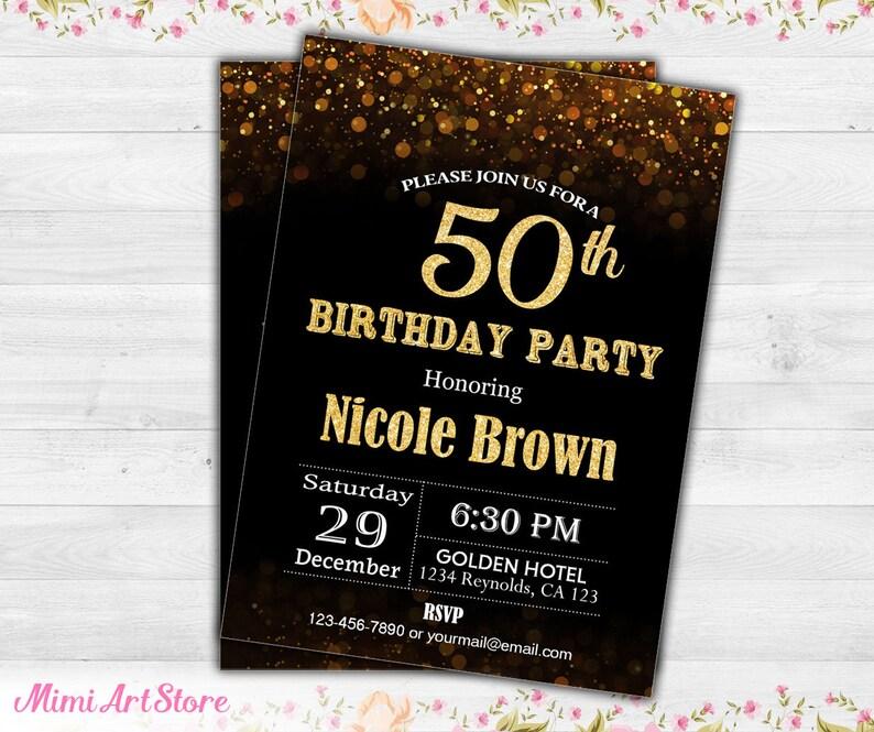 Surprise 50th Birthday Invitation For Her Black Gold Glitter