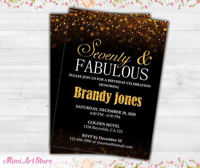 surprise 70th birthday invitation black gold glitter 70th etsy
