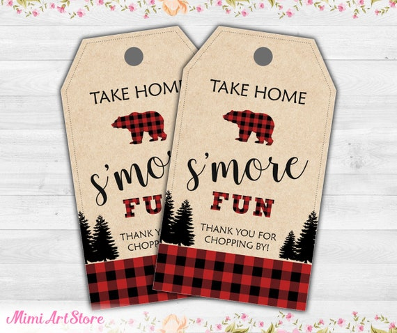 Take home smore fun sign  Lumberjack sign  buffalo plaid sign  Birthday Party  Baby Shower  Digital Download