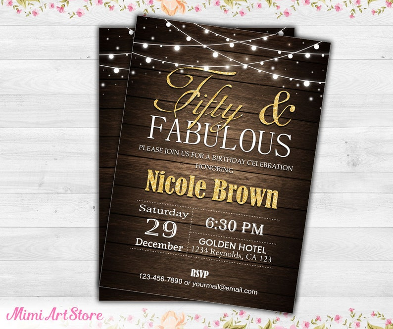 Surprise 50th Birthday Invitation For Men Rustic Fifty And