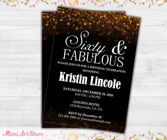 Surprise 60th Birthday Invitation For Her Sixty And Fabulous Etsy