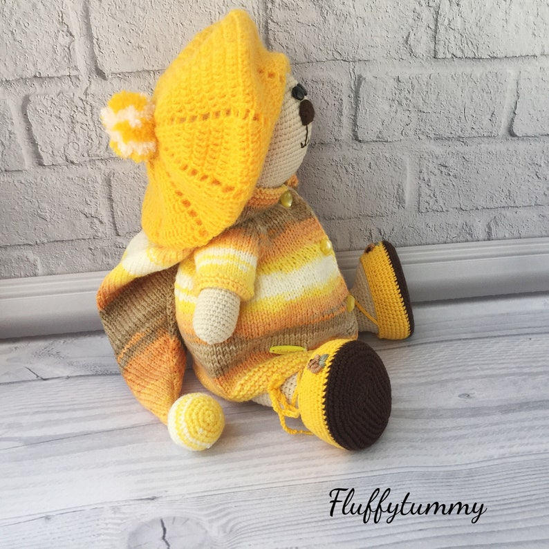 Crochet teddy bear Dress up doll Ooak crochet doll Newborn prop Knitted teddy bear Amigurumi bear Amigurumi animal,Handmade bear decor