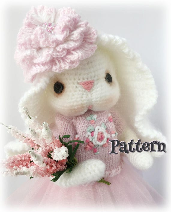 Pink Bunny Pattern Diy Easter Gift Rabbit Knit Pattern Fluffy Etsy