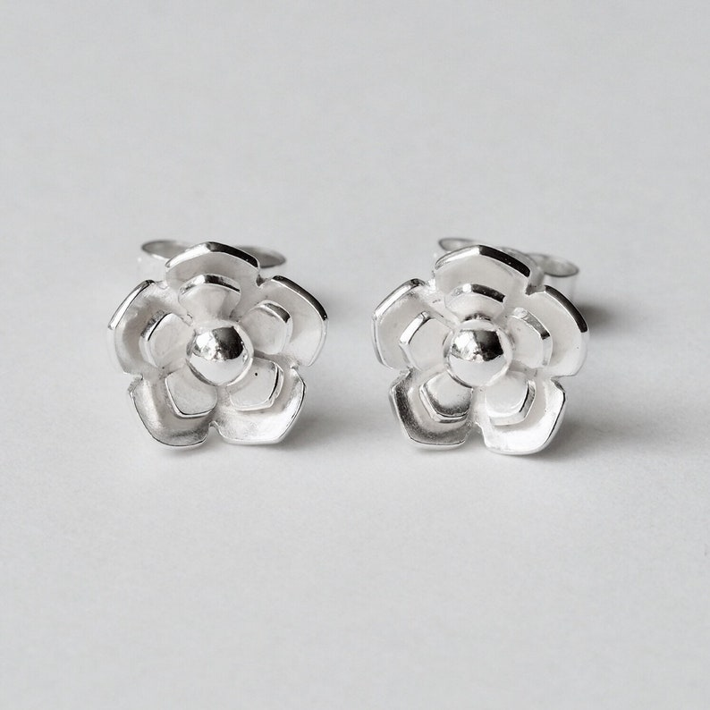 Sterling silver flower stud earrings unique dainty handmade rose earrings gift for women