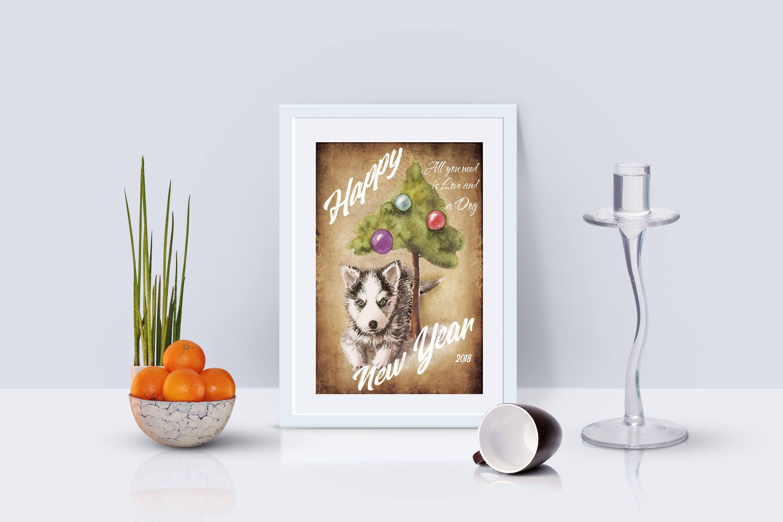 Neue Jahr Aquarell Zeichen Hund Vintage Poster Dekor Happy